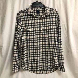 Men's Gap Black and White Plaid Flannel